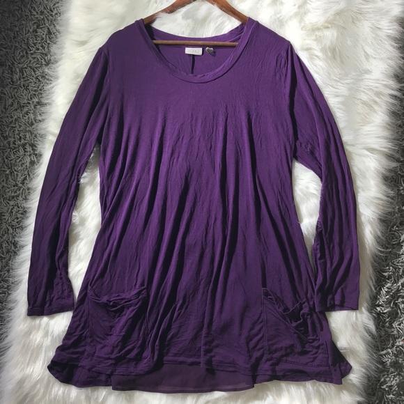 LOGO by Lori Goldstein Purple tunic Chiffon back